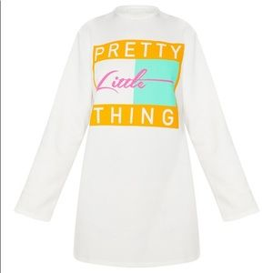 PrettyLittleThing White Slogan Sweater Dress